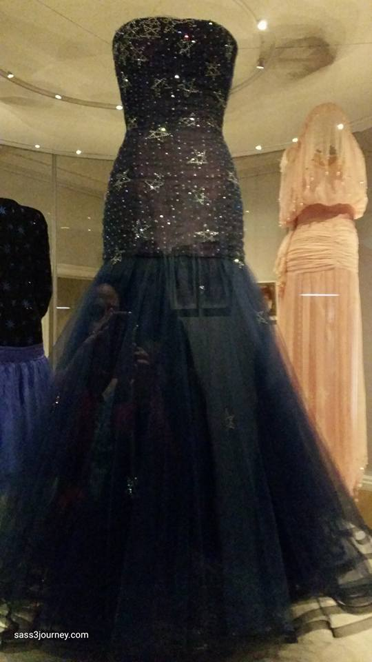 Midnight blue gown worn by Princess Diana for a formal dinner for the President of Greece, 1986