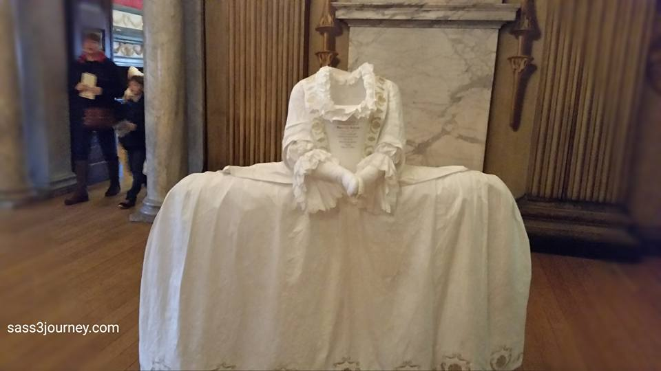Worn on formal court occasions, it is made of white silk, brocaded in white and colored silk c1750-53