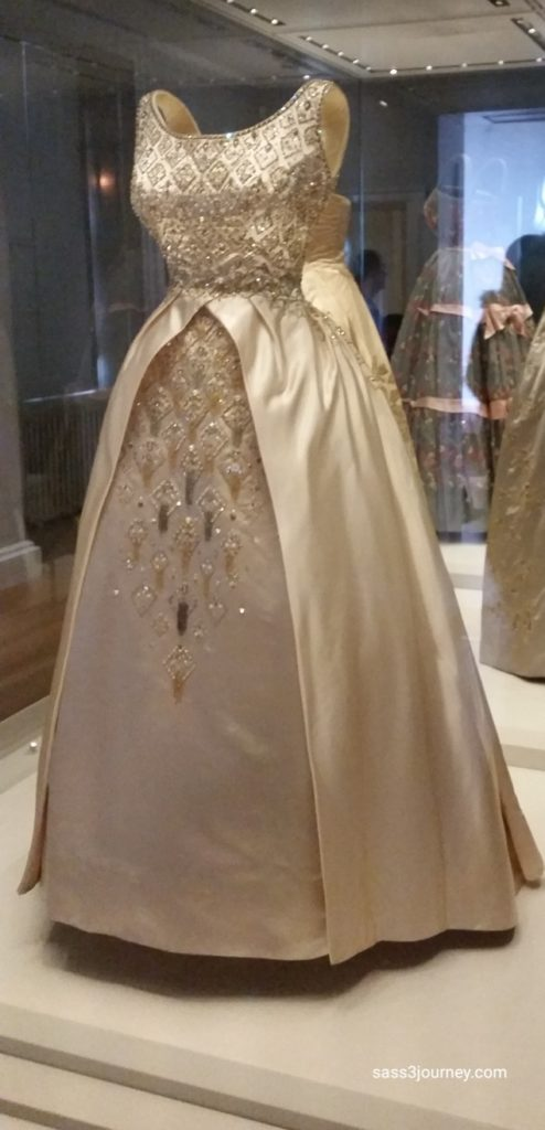 A peach silk gown from the early 1950's worn by the young Queen Elizabeth.