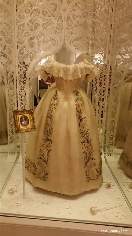 The wedding dress of Queen Victoria, at her wedding to Prince Albert on February 10, 1840. The cream-colored gown was made of heavy silk satin with individually designed lace trim.