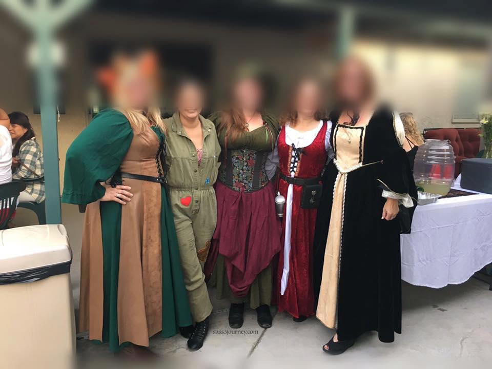 Some Outlander costumes at a gathering.